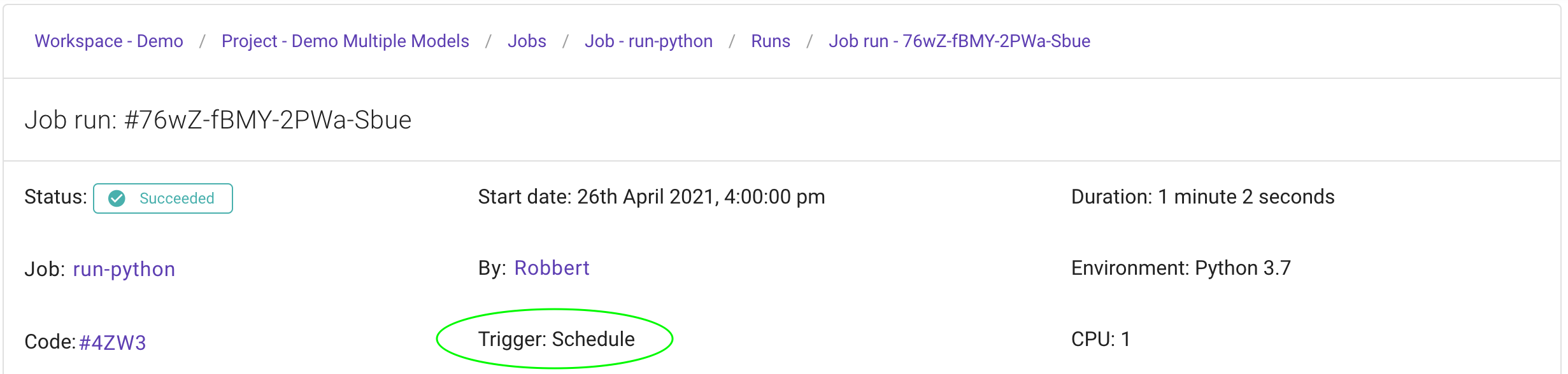 Run triggered by a schedule